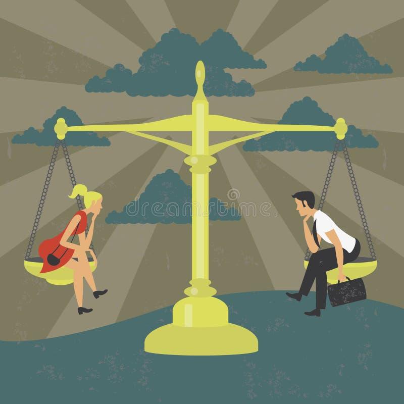 Igualdad de género del hombre y de la mujer en un equilibrio stock de ilustración