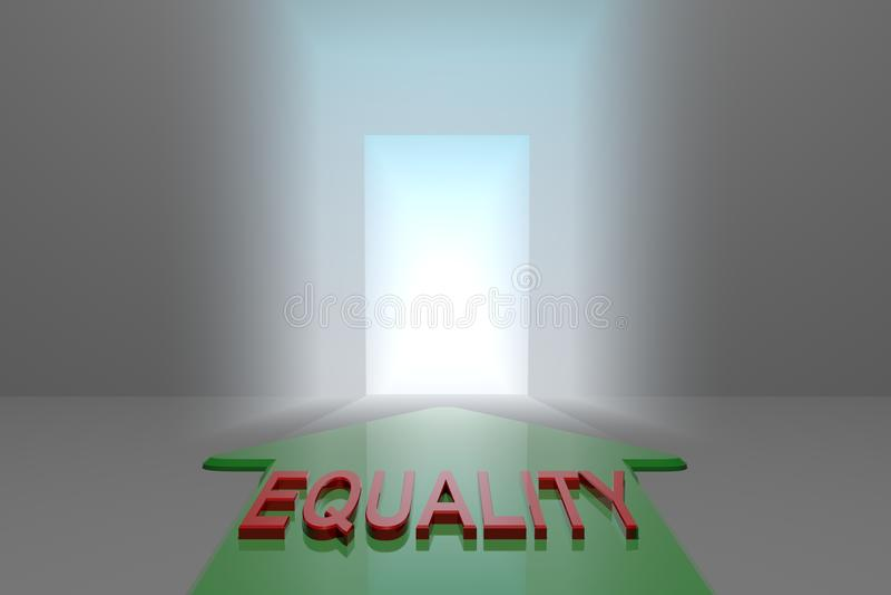 Igualdad a la puerta abierta ilustración del vector