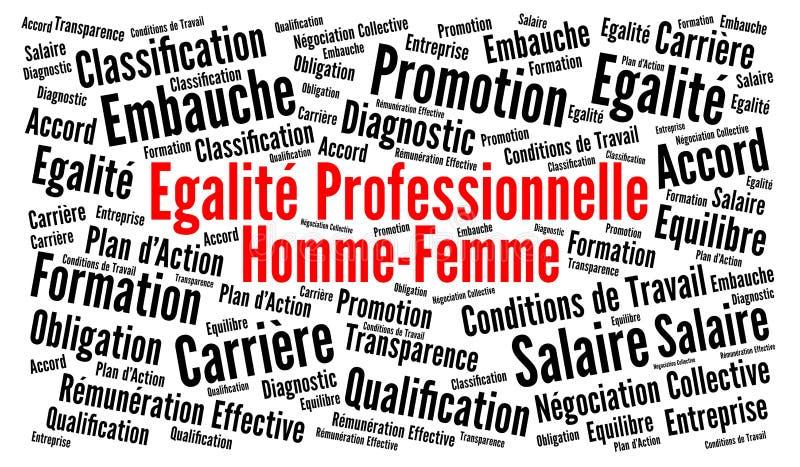 Igualdade de gênero profissional na nuvem da palavra da língua francesa ilustração stock