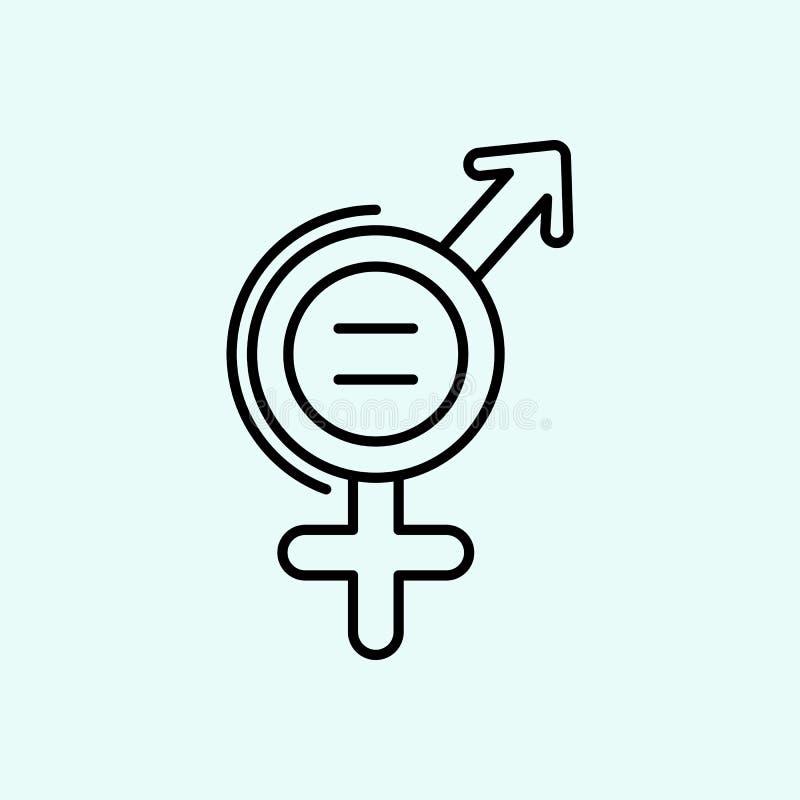 Igualdade, f?mea, ?cone masculino Elemento do feminismo para o conceito e o ?cone m?veis dos apps da Web Esbo?o, linha fina ?cone ilustração royalty free