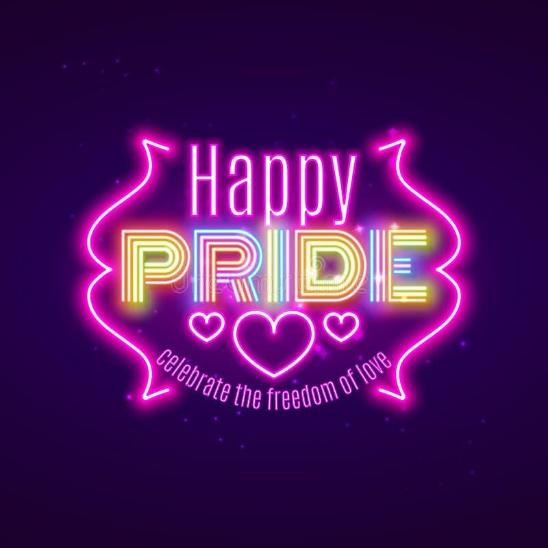 Igualdade feliz do orgulho LGBT, celebração alegre do amor, projeto de néon, VE ilustração stock