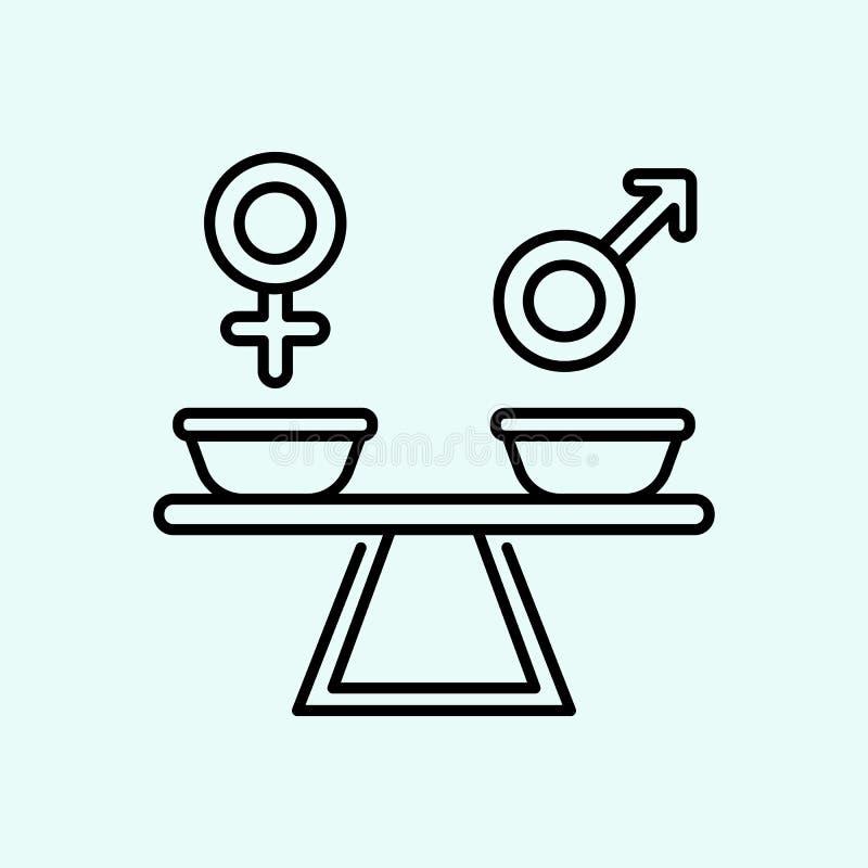 igualdade, g?nero, ?cone do sinal Elemento do feminismo para o conceito e o ?cone m?veis dos apps da Web Esbo?o, linha fina ?cone ilustração stock