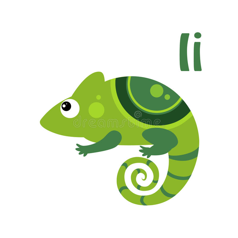 Iguana Alfabeto divertido, ejemplo animal del vector stock de ilustración