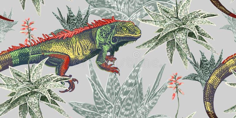 Iguana, aloe και κάκτοι Floral άνευ ραφής σχέδιο με τις ανθίζοντας εγκαταστάσεις και τη σαύρα διανυσματική απεικόνιση
