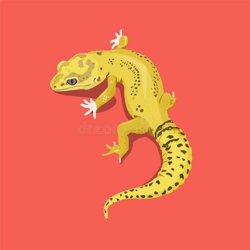 Iguana amarela em um fundo alaranjado Gr?ficos de vetor ilustração stock