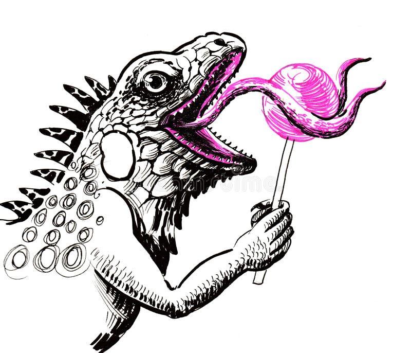 Iguana com um lolipop ilustração royalty free