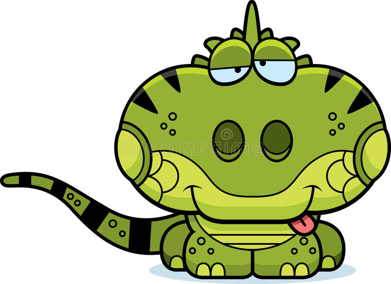 Iguana torpe de la historieta stock de ilustración