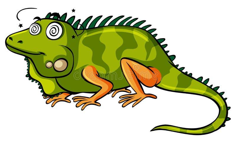 Iguana verde com cara tonto ilustração do vetor