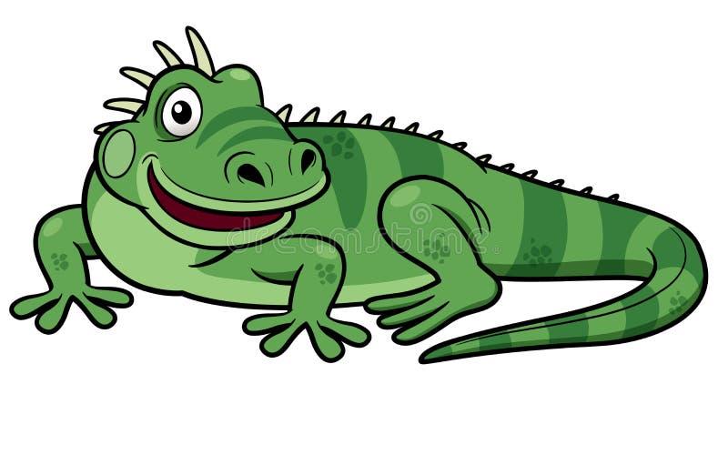 Iguana verde de la historieta stock de ilustración
