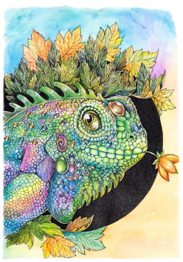 Iguane, lézard, caméléon, dessinant avec des peintures d'aquarelle illustration stock