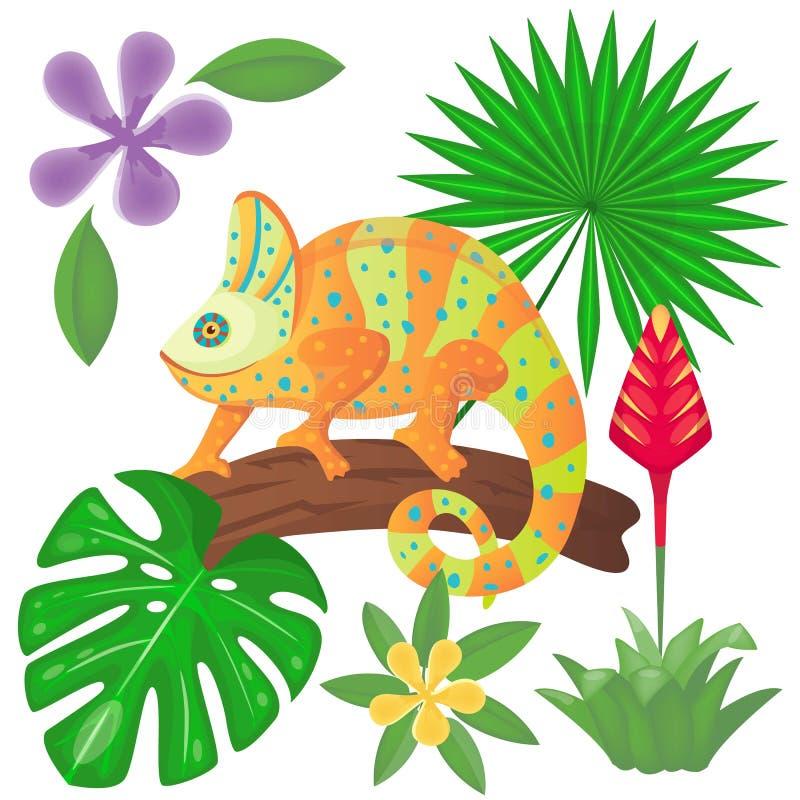 Iguane sur les usines d'arbre et de jungle Caméléon entre la paume et les feuilles de monstera illustration de vecteur