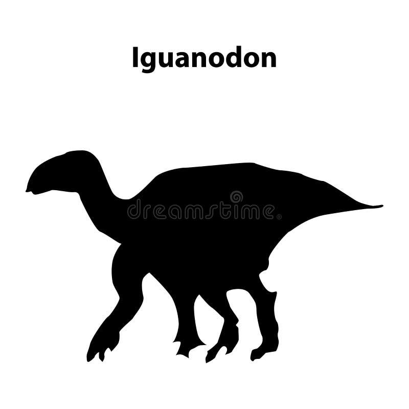 Iguanodon dinosauriekontur vektor illustrationer