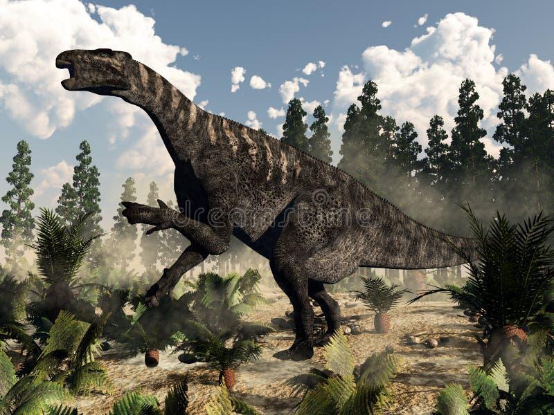 Iguanodon hurlant - 3D rendent illustration libre de droits
