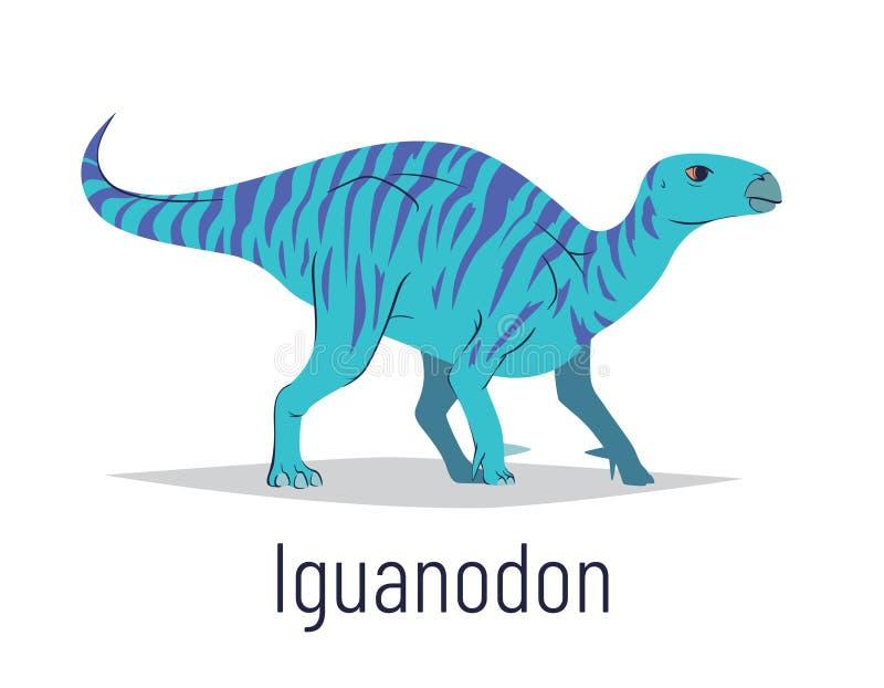 Iguanodon. Ornithischian dinosaur. Colorful vector illustration of prehistoric creature iguanodon in hand drawn flat stock photos