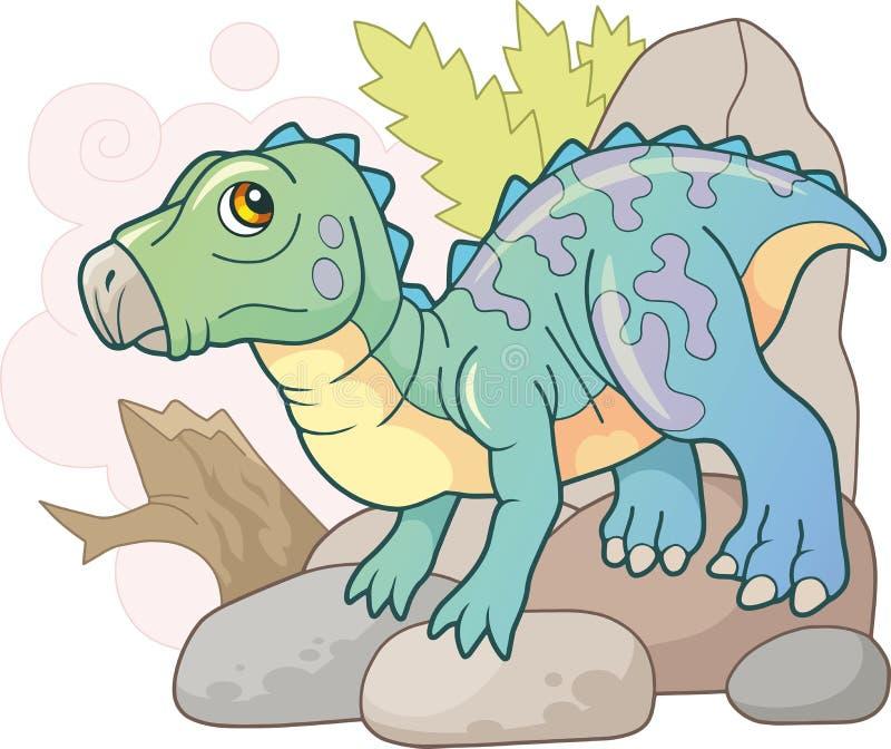 Iguanodon prehistórico lindo del dinosaurio, ejemplo divertido stock de ilustración