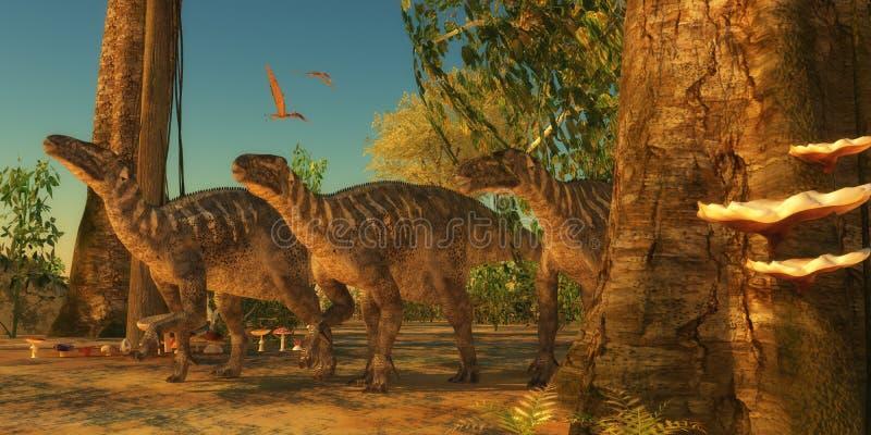 Iguanodons i skog vektor illustrationer