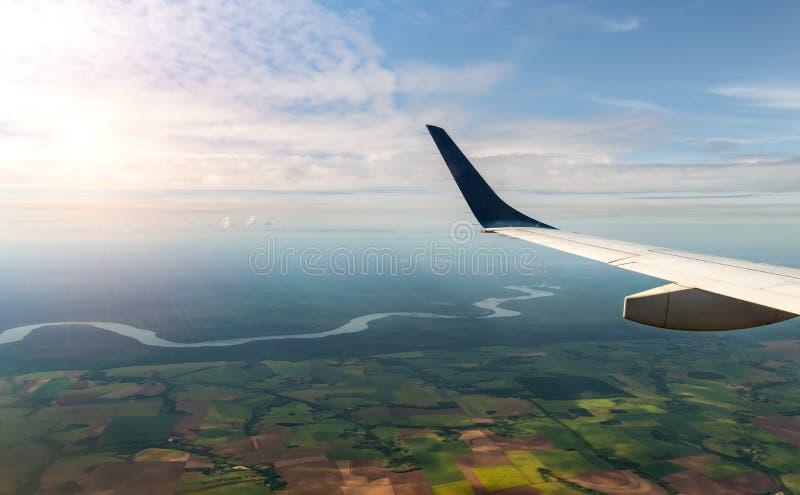 Iguassu河的鸟瞰图在巴西 库存照片