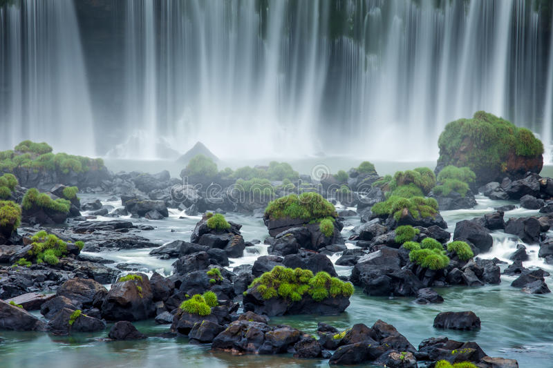 Iguassu Falls, the largest series of waterfalls of the world, view from Brazilian side stock photography