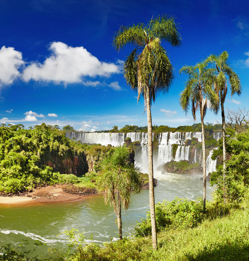 Iguassu Falls, view from Argentinian side. Iguassu Falls, the largest series of waterfalls of the world, located at the Brazilian and Argentinian border, View royalty free stock photo
