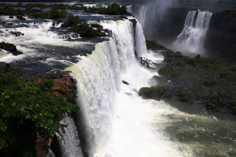 Iguassu (Iguazu; Cadute di Iguaçu) - grandi cascate fotografia stock libera da diritti