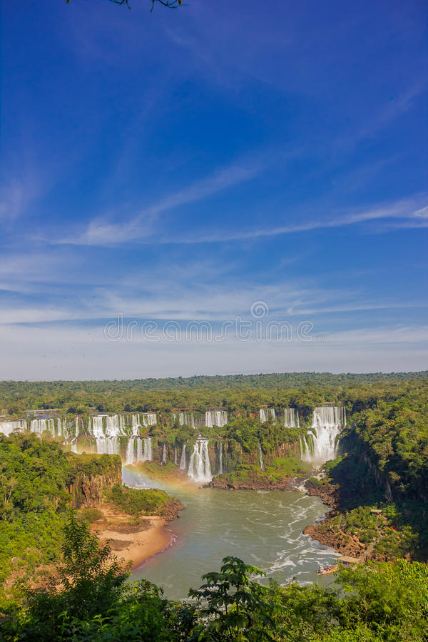 IGUAZU, BRAZIL - MAY 14, 2016: the iguazu falls are located between the brazilian state of parana and the argentian. State of misiones stock photo