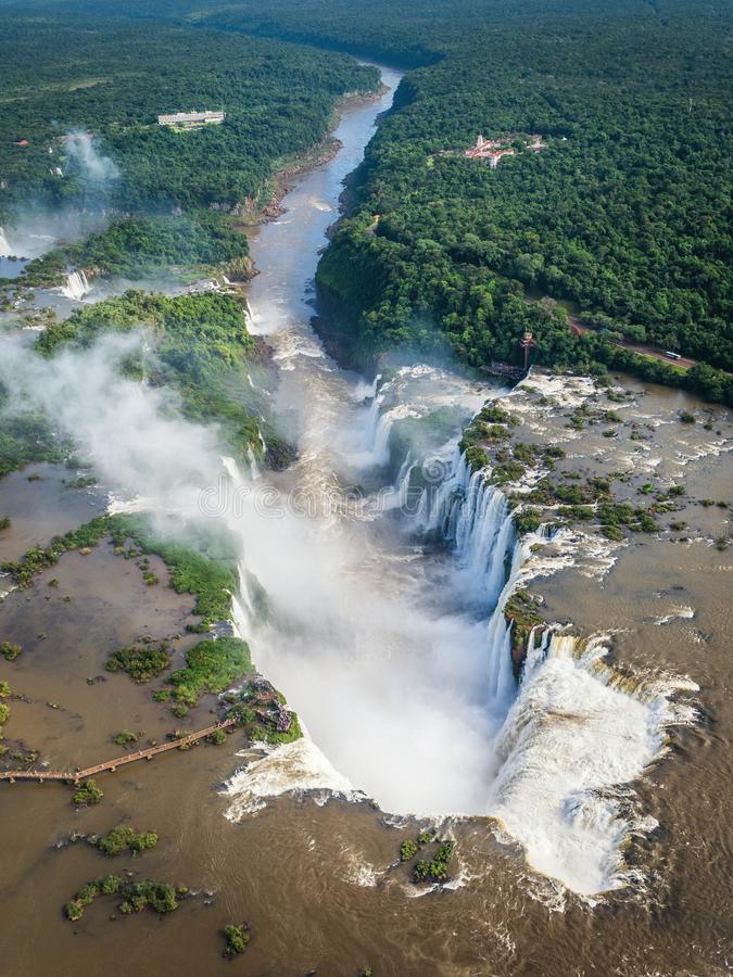 Aerial View of Iguazu Falls on the Border of Argentina and Brazil stock photos