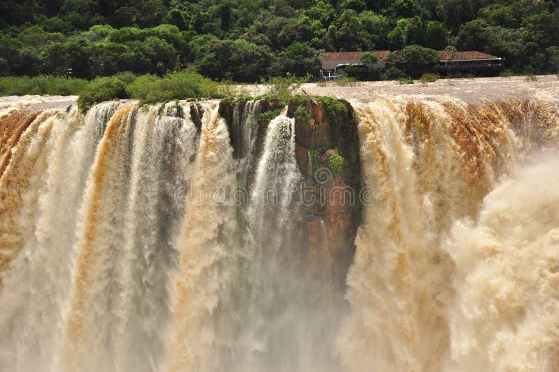 Iguazu falls close vue of amazing water. Argentina royalty free stock image