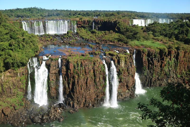 Iguazu Falls från den brasilianska sidan, Foz gör Iguacu, Brasilien arkivbild