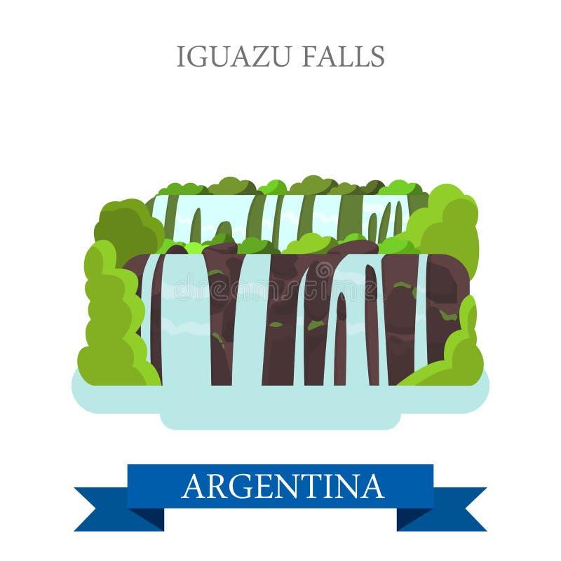 Iguazu Falls i gränsmärken för dragning för Argentina vektorlägenhet royaltyfri illustrationer