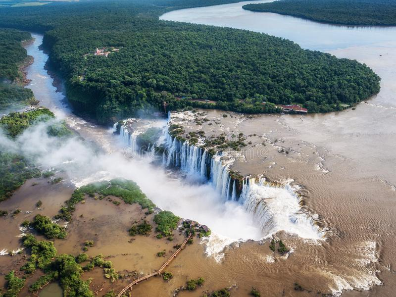 Aerial View of Iguazu Falls on the Border of Argentina and Brazil stock photo