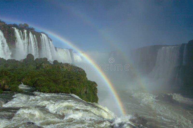 Iguazu Falls med den dubbla regnbågen om den ljusa soliga dagen arkivbilder