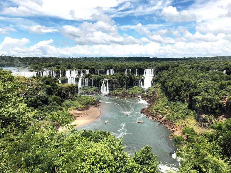 Iguazu Falls are one of the world`s famous natural waterfalls, on the border of Brazil and Argentina. stock photos