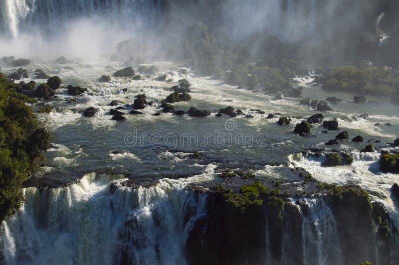 Iguazu Falls p? en ljus solig dag arkivbilder