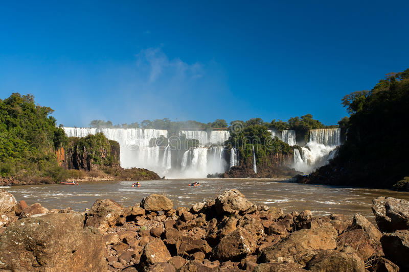 Iguazu falls. Seen from Iguazu river border - from below royalty free stock images