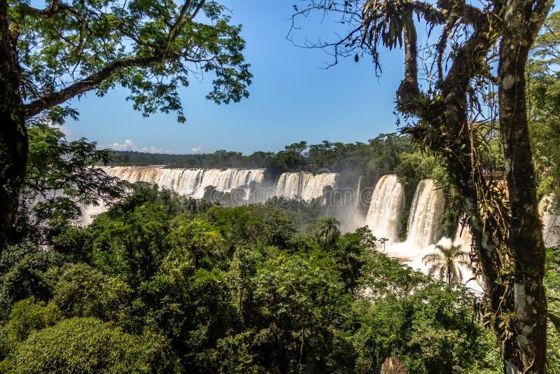 Iguazu Falls sikt från argentinian sida - Brasilien och Argentina gränsar royaltyfri bild