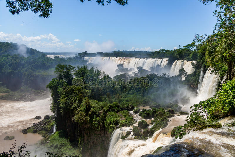 Iguazu Falls view from argentinian side - Brazil and Argentina Border. Iguazu Falls view from argentinian side in Brazil and Argentina Border royalty free stock photography
