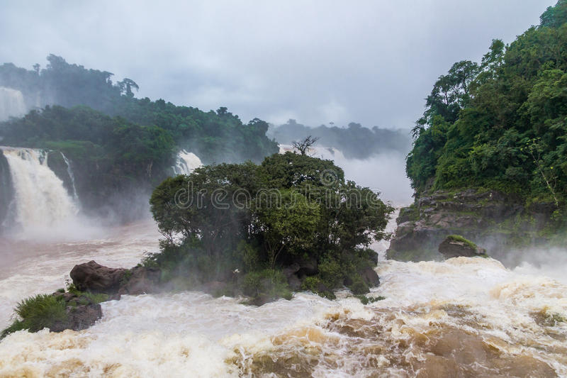 Iguazu Falls view from brazilian side - Brazil and Argentina Border stock image