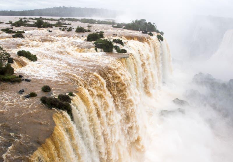 Iguazu valt hogere watervalbovenkant veiw van Brazilië stock fotografie