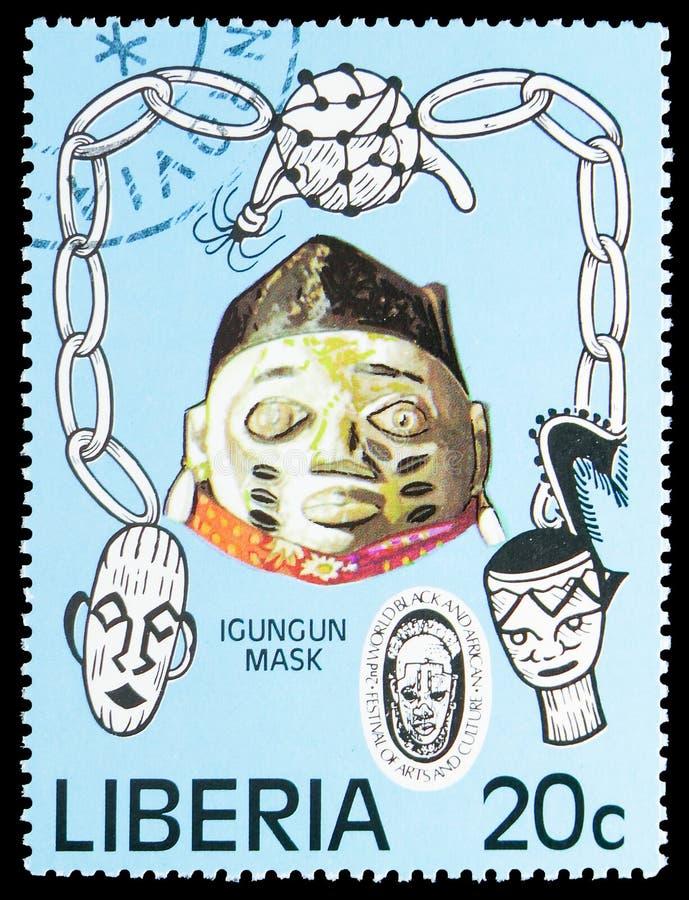 Igungunmasker, het 2de Wereld Zwarte en Afrikaanse Festival van Kunsten en Cultuur serie, circa 1977 royalty-vrije stock afbeeldingen