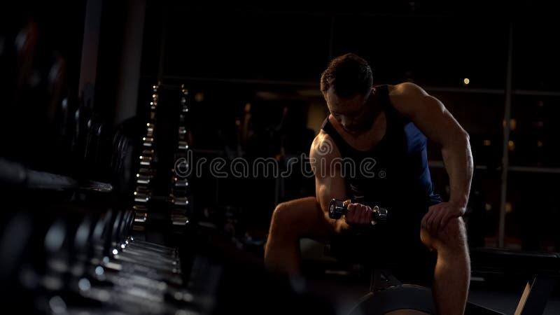 Ihärdig idrottsman som gör hantelkoncentrationskrullningen, aftongenomkörare i idrottshall arkivbilder