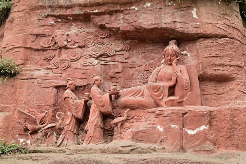 Ih enceinte d'éléphant de pierre-Le de falaise d'Emei Shan le rêve photo stock