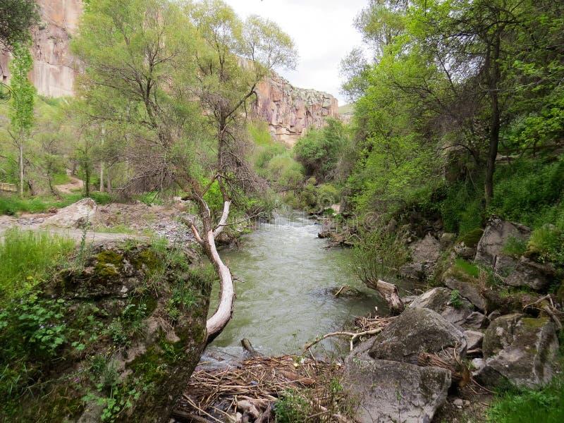 Ihlara谷,Melendiz河,卡帕多细亚,土耳其 免版税库存图片