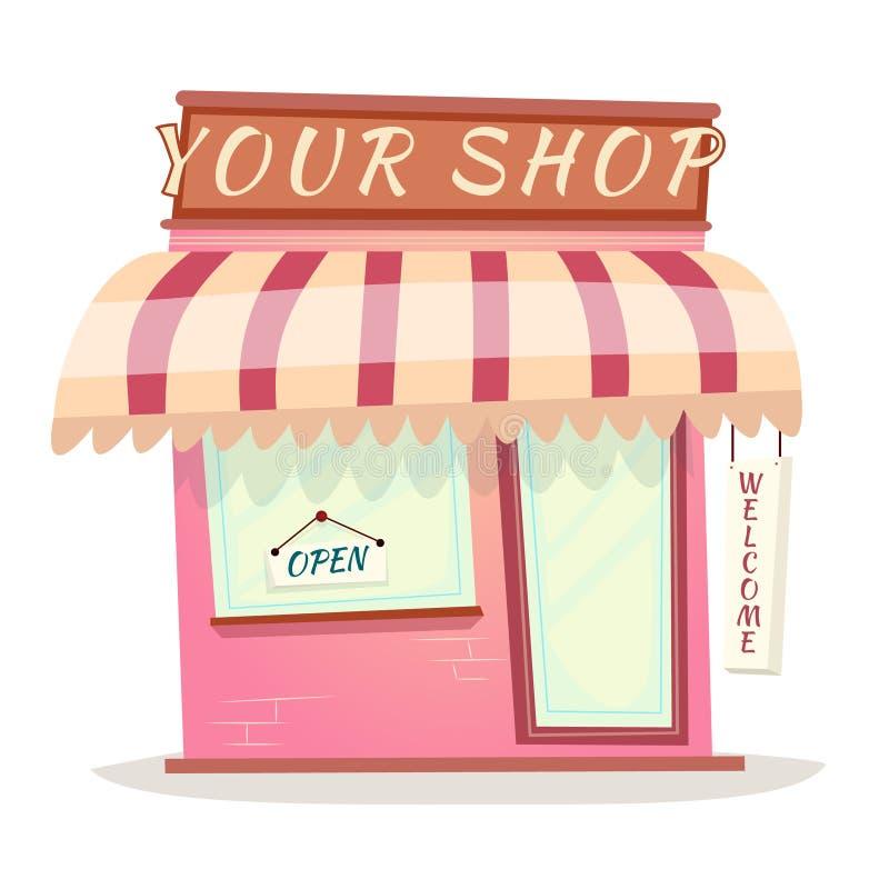 Ihr Retro- Shop-Ikonen-Haus-Karikatur lokalisierter Vektor stock abbildung