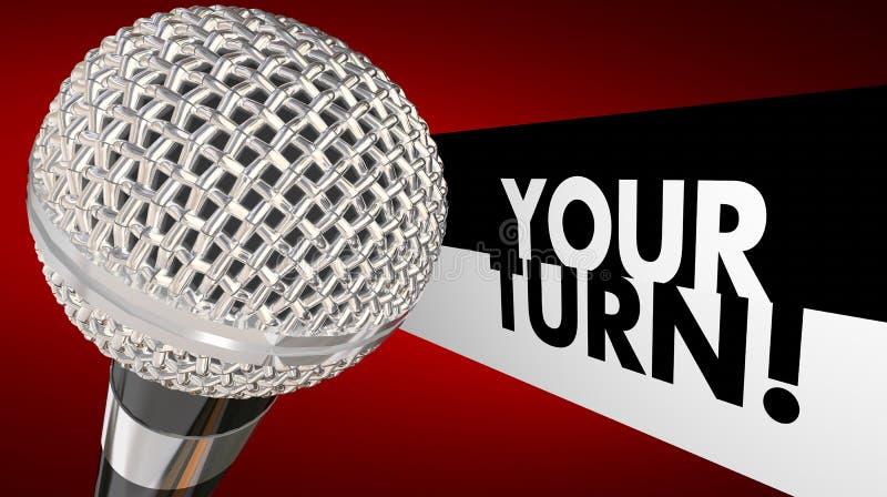Ihre Drehung sprechen herauf Gesprächs-Anteil-Meinungs-Ideen-Mikrofon 3d Illust lizenzfreie abbildung