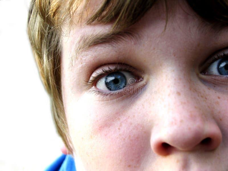 In Ihrem Gesicht Stockfoto