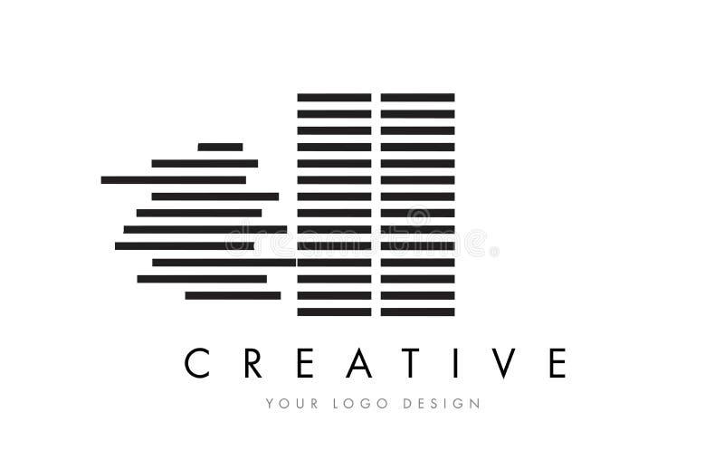 II Я дизайн логотипа письма зебры I с черно-белыми нашивками бесплатная иллюстрация