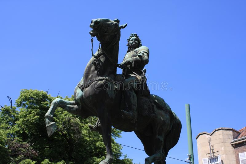 II Rakoczi费伦茨雕象在塞格德,匈牙利, Csongrad地区 免版税库存照片