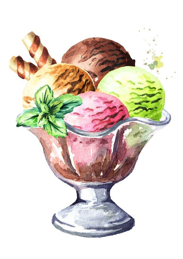 Iice śmietanka w szklanym pucharze Akwareli ręka rysująca ilustracja, odizolowywająca na białym tle ilustracja wektor