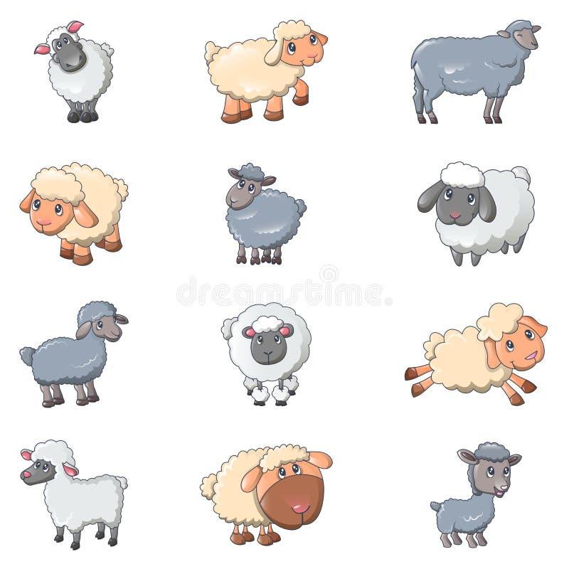 Iicons фермы овечки овец милые установили, стиль шаржа иллюстрация вектора