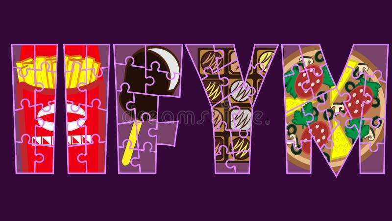 IIFYM s'il adapte vos macros en tant que plaquette flexible de concept de régime Puzzle de lettrage de forme physique illustration libre de droits